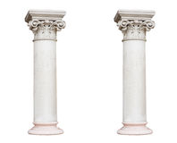 Two white columns in the classical style isolated on white backg Stock Image