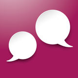 Two White Communication Speech Bubble Purple Labels Royalty Free Stock Photos