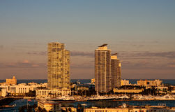 Two White Condo Towers at Sunset on Coast Stock Photos
