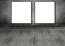 Two white copy space posters hung on a brick wall Royalty Free Stock Photography