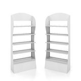 Two white counters with metal shelves Royalty Free Stock Photography