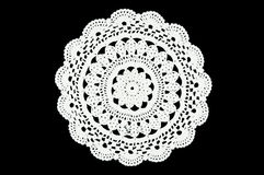 Free Two White Crocheted Coaster On The Black Background. Not Isolated. Lace Doily. Royalty Free Stock Images - 89922349