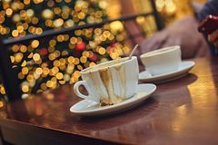 Two white cups with aroma refreshing coffee. Stock Images