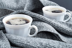Two white cups of coffee close-up Royalty Free Stock Photography