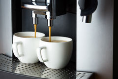 Two white cups of espresso Royalty Free Stock Photo