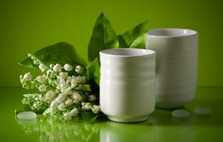 Two white cups with spring flowers on green Royalty Free Stock Photo