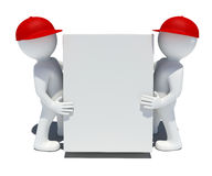 Two white 3d man holding a big box. Two 3d man holding big box.  on white background Royalty Free Stock Photography