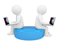 Two white 3d man sitting at laptops Royalty Free Stock Photography