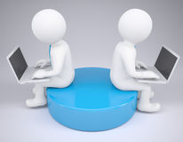 Two white 3d man sitting at laptops Stock Photos