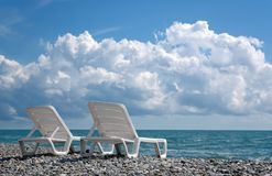 Two white deckchair Stock Image
