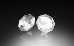 Two  white    diamond  , 3d  render Stock Photos