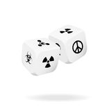 Two white dice of war Stock Images