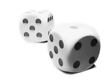 Two white dices. With on white background Royalty Free Stock Photography
