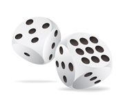 Two white dices in motion Royalty Free Stock Images