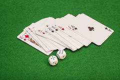 Two White Dices And Playing Cards Royalty Free Stock Photos