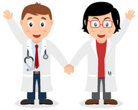 Two White Doctors Smiling and Greeting Royalty Free Stock Image