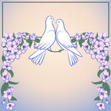 Two white doves and decor of blossoming apple tree Royalty Free Stock Photography