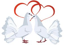 Two white doves and hearts Stock Photo
