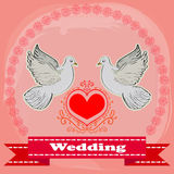 Two white doves on a red heart background. Vector illustration Stock Photos