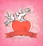 Two white doves and red heart Stock Image