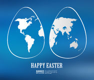 Two white easter eggs with global map pattern Royalty Free Stock Images