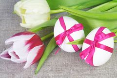Two White Easter Eggs and Tulips. Two White Easter Eggs Tied with Purple Ribbon and Tulips on Sacking Stock Photos