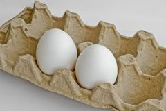 Two white eggs in the package for eggs from the chicken farm. Last egg stocks stock images
