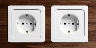 White electric power sockets isolated on wooden background. 3d illustration stock illustration