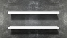 Two white empty shelves Royalty Free Stock Images