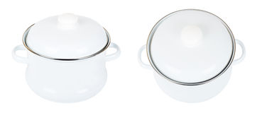 Two white enamelled saucepans Royalty Free Stock Photo