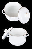 Two white enamelled saucepans Stock Photo