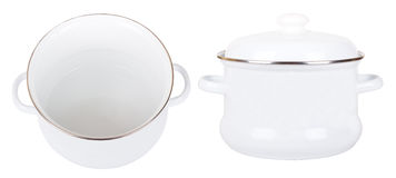 Two white enamelled saucepans Stock Photography