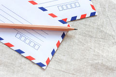 Two white envelope and pencil Stock Image
