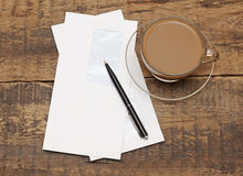 Two white envelopes with black pen Royalty Free Stock Image