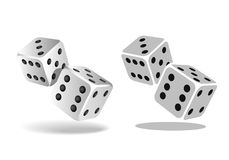 Two white falling dice isolated on white. Casino gambling template concept. Vector illustration Royalty Free Stock Image