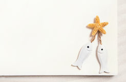 Two white fishes with starfish on a white summer background for Stock Photography