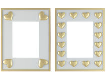 Two white frames with gold hearts. Isolated on white, insert your own design, 3d render Royalty Free Stock Image