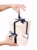 Two white gift boxes Stock Photo