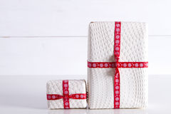 Two white gift boxes with polka dots Royalty Free Stock Photo
