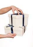 Two white gift boxes Stock Photos
