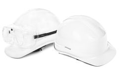 Two white hard hats Stock Photo