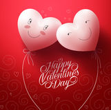 Two White Hearts In love with Happy Face for Valentines. Two White Hearts Inlove with Happy Face for Valentines day Greetings Card with Pattern Red Background Royalty Free Stock Photos