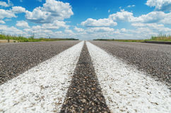 Two white line on asphalt road Royalty Free Stock Image