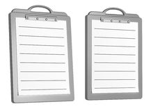 Two white lined blank writing pads isolated on whi. Te. 3D render stock illustration
