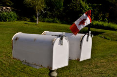 Two white mailboxes Royalty Free Stock Photos