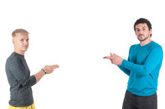 Two white male pointing with their fingers Royalty Free Stock Images