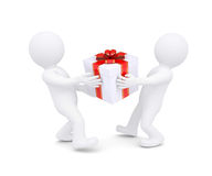 Two white man holding a box with a gift. Render on a white background Royalty Free Stock Image