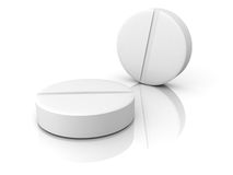 Two White Medical Pills On White Background Royalty Free Stock Photography