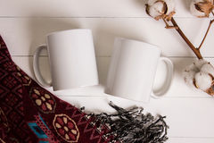 Two white mugs, pair of cups, Mockup. Stock Image