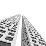 Two white office towers perspective isolated Royalty Free Stock Image